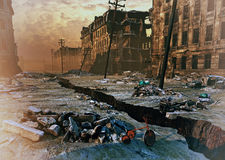 Ruins of a city. With a crack in the street. 3d illustration concept Royalty Free Stock Photos