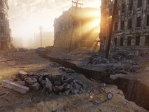 Ruins of a city. With a crack in the street. 3d illustration concept Stock Photo