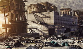 Ruins of a city. 3d illustration concept royalty free illustration
