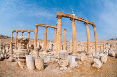 Ruins city of Jerash in Jordan / The Arch of Hadrian in Jerash. Jerash, the Gerasa of Antiquity Ancient Greek: Γέρασα, Hebrew: גַ`רַש, is the capital Royalty Free Stock Images