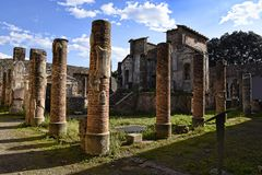 The Temple of isis in the once buried Roman city of Pompeii south of Naples under the shadow of Mount Vesuvius Royalty Free Stock Photography