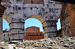 Ruins in the city of Rome stock image