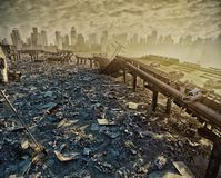 Ruins of the city. Apocalyptic landscape.3d illustration concept vector illustration