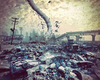 Ruins of a city and tornado. Disaster landscape.3d illustration concept Stock Images