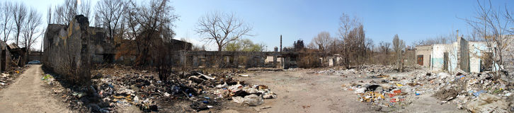 Ruins of city, trash, panorama Stock Photography