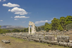 Ruins of classic ancient temple in Epidavros, Greece Royalty Free Stock Image