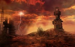 Ruins of clock tower royalty free illustration