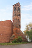 The ruins of the clock tower in castle Ragnit in Neman, Russia Stock Photography