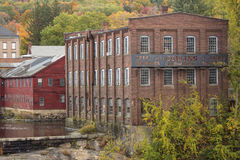 Ruins of the Collins Axe Factory in Collinsville, Connecticut. Old Collins axe factory on the Farmington River in the Collinsville section of Canton Royalty Free Stock Photos