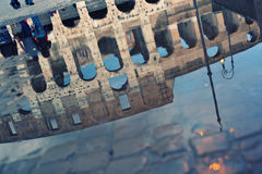 Ruins of the Collosseo. Its reflexion after a rain, Rome, Italy Royalty Free Stock Image
