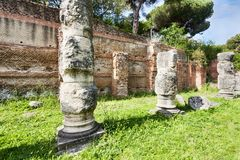 Ruins of the colonnades of the Claudius s portico. In the Port of Claudio in Trajan excavations site- Rome - Italy royalty free stock photo