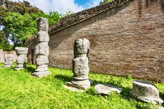Ruins of the colonnades of the Claudius s portico. In the Port of Claudio in Trajan excavations site- Rome - Italy stock photo