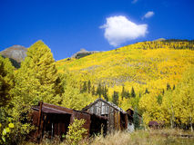 Ruins of Colorado Silver Mining community in Fall Stock Photo