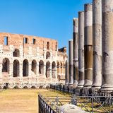 The ruins of the Colosseum and columns of the temple of Venus in. Rome Royalty Free Stock Photos