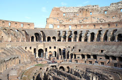 Ruins of the Colosseum in Italian Rome, Lazio. The Colosseum, the most famous landmark in Rome, is built in the 1st century AD and was the largest Roman Stock Image