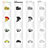 The ruins of the Colosseum, a Roman helmet, a branch of olives, an Italian car. Italy country set collection icons in. Cartoon black monochrome outline style Royalty Free Stock Image