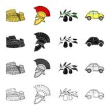 The ruins of the Colosseum, a Roman helmet, a branch of olives, an Italian car. Italy country set collection icons in. Cartoon black monochrome outline style Stock Photo