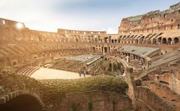 Ruins of the Colosseum in Rome, Italy. Day roman coliseum ancient landmark travel history inside architecture italian monument sun amphitheater skyline building stock photography