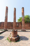 Ruins colum statue in Ayutthaya Historical Park, Thailand Royalty Free Stock Image