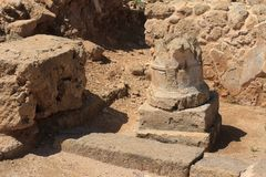 The ruins of the column. horizontal, Paphos Cyprus Royalty Free Stock Photo