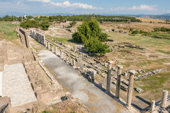 The ruins of the columns in the alley, Pergamos Royalty Free Stock Image