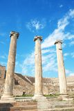 Ruins of columns in Asklepion Stock Images