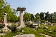 Ruins of columns and monuments in Yuanming Yuan (Yuanmingyuan), Beijing. Ruins of columns and monuments in Yuanming Yuan (Yuanmingyuan), the royalty free stock photography
