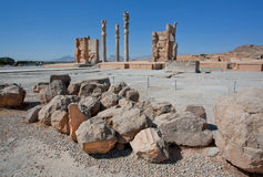 Ruins and columns of palace in Persepolis Stock Image