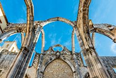 Ruins of the Convent of Our Lady of Mount Carmo Royalty Free Stock Images