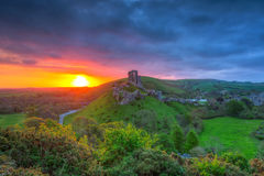 Ruins of the Corfe castle Stock Photography