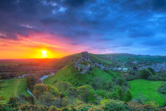Ruins of the Corfe castle Royalty Free Stock Photography