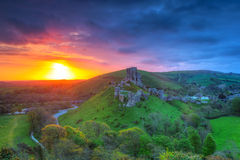Ruins of the Corfe castle, UK Stock Images