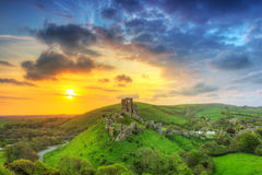 Ruins of the Corfe castle, UK Stock Photography