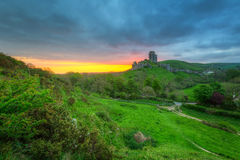 Ruins of the Corfe castle, UK Stock Photos