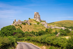 Ruins of Corfe Castle. Wareham, United Kingdom - June 20, 2017: Ruins of Corfe Castle, built in medieval times by William the  Conqueror in the Isle of Purbeck Royalty Free Stock Image
