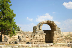 Ruins, Corinth, Greece. Ruins at Corinth, Greece.  Archway in the marketplace Stock Images
