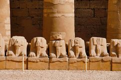 Ruins of corridor of sphinxes, Situated in Karnak Temple complex, Comprises a vast mix of decayed temples, chapels, pylons and oth. Er buildings, Luxor, Egypt Stock Images