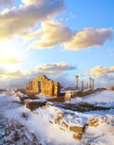 Ruins in crimea. Snow in crimea Stock Image
