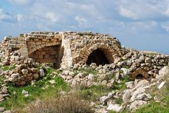 Ruins of crusader castle Bayt Itab, Israel Stock Photo