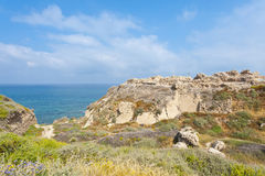 Ruins of the crusader fortress in Israel. Royalty Free Stock Images