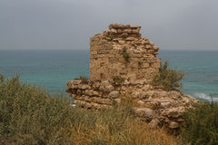 Ruins of the crusaders castle in Arsuf Stock Photos