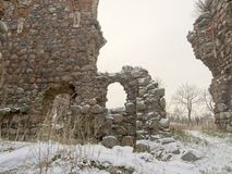 The ruins of Crusaders castle. stock photo