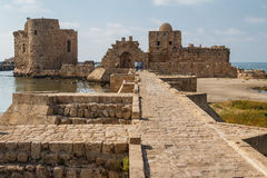 Ruins of the crusaders castle in Sidon & x28;Saida& x29; Royalty Free Stock Images