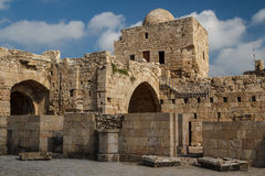 Ruins of the crusaders castle in Sidon & x28;Saida& x29; Royalty Free Stock Image