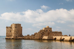 Ruins of the crusaders castle in Sidon & x28;Saida& x29; stock photography