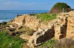 Ruins of Crusaders fortress Apollonia in Israel Stock Photos