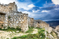 Ruins of Crussol in Ardeche, France. View to the ruins of castle Crussol in the South of France nearby Valence royalty free stock photography
