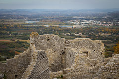 Ruins of the Crussol castle, in France Stock Photos