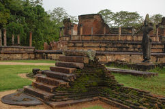 Ruins of Dalada-Maluwa in Polonnaruwa, Sri Lanka. Polonnaruwa used to be a capital of Sri Lanka. Dalada-Maluwa is a famous place where plenty of ancient relics Stock Photo