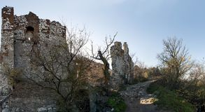 The ruins of the Devicky castle in Palava hills in the Czech Republic Royalty Free Stock Image